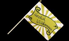 Stockflagge Herzlich Willkommen Banderole - 30 x 45 cm