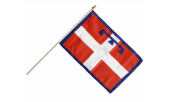 Stockflagge Italien Piemont - 30 x 45 cm
