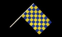 Stockflagge Karo Blau-Gelb