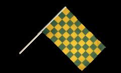 Stockflagge Karo Grün-Gelb - 60 x 90 cm