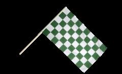Stockflagge Karo Grün-Weiß