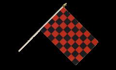 Stockflagge Karo Rot-Schwarz - 30 x 45 cm