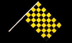 Stockflagge Karo Schwarz-Gelb - 60 x 90 cm