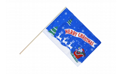Stockflagge Merry Christmas Weihnachtsmann mit Schlitten