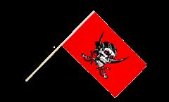 Stockflagge Pirat auf rotem Tuch