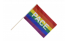 Stockflagge Regenbogen mit PACE - 60 x 90 cm