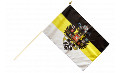 Stockflagge Russland Romanow mit Wappen 1858-1883 - 30 x 45 cm