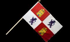 Stockflagge Spanien Kastilien-Leon - 30 x 45 cm