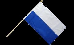 Stockflagge Streifen weiß-blau - 30 x 45 cm