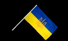 Stockflagge Ukraine mit Wappen - 60 x 90 cm