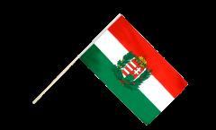 Stockflagge Ungarn mit Wappen - 30 x 45 cm