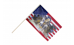 Stockflagge USA mit Indianerhäuptling