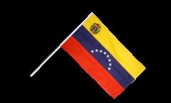 Stockflagge Venezuela 8 Sterne mit Wappen - 60 x 90 cm