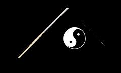 Stockflagge Ying und Yang schwarz