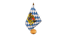 Tischflagge Deutschland Bayern mit Löwe - 15 x 22 cm