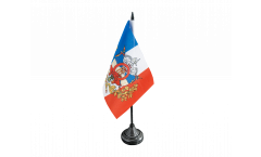 Tischflagge Frankreich mit Wappen - 10 x 15 cm