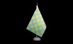 Tischflagge Karo Grün-Gelb - 15 x 22 cm