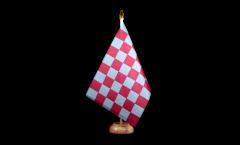 Tischflagge Karo Rot-Blau - 15 x 22 cm