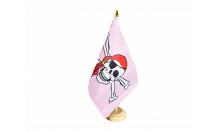 Tischflagge Pirat pink - 15 x 22 cm
