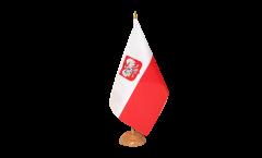 Tischflagge Polen mit Adler - 15 x 22 cm