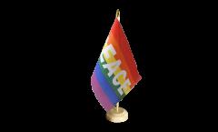 Tischflagge Regenbogen mit PACE - 10 x 15 cm