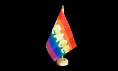 Tischflagge Regenbogen mit PEACE - 15 x 22 cm