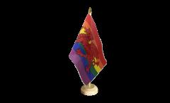 Tischflagge Regenbogen mit walisischem Drachen - 15 x 22 cm