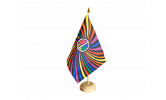 Tischflagge Regenbogen Peace Swirl