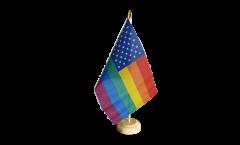 Tischflagge USA Regenbogen