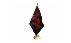 Tischflagge Walisischer Drache schwarz - 15 x 22 cm